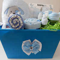 Doggie The Dog Baby Boy Shower Theme Premium Gift Basket
