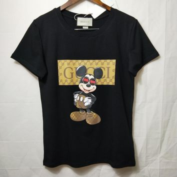 """""""Gucci""""  Woman Fashion Casual Short-Sleeved Mickey Mouse Printed Round Neck Top"""