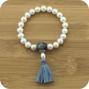 Freshwater Pearl Mala Bracelet with Blue Tigers Eye