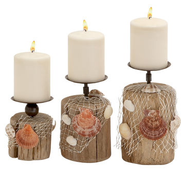 Wonderful Driftwood Candle Holder Set Of 3