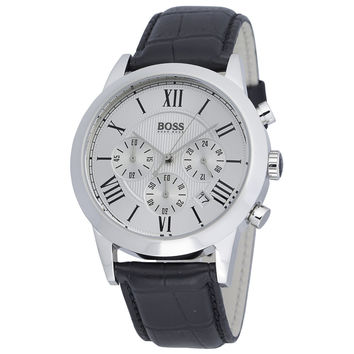 Hugo Boss 1512573 Men's Silver Dial Black Leather Strap Chronograph Watch