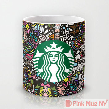 Personalized mug cup designed PinkMugNY - Starbucks illustration