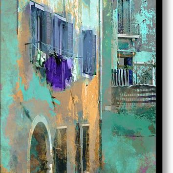 Venice Washday In Blue Canvas Print / Canvas Art By Suzanne Powers