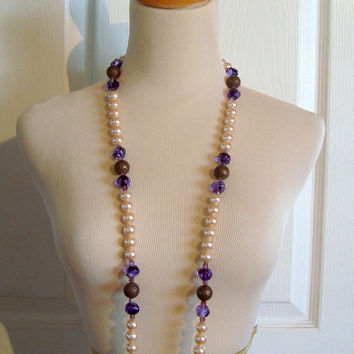 Peach Pearls with Amethyst Glass & Copper Beads Vintage Necklace 40""