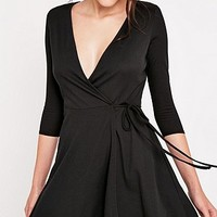 Pins & Needles Wrap Rib Dress - Urban Outfitters