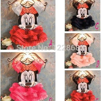 Free Shipping New Summer Minnie Dress For Kids 5 Colors Fantasia Infantil Vestido Minie Mouse Girls Mini Mouse Costume