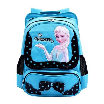 Disney cartoon elsa anna children orthopedic school bag books bag shoulder backpack for kids girls grade 3-6