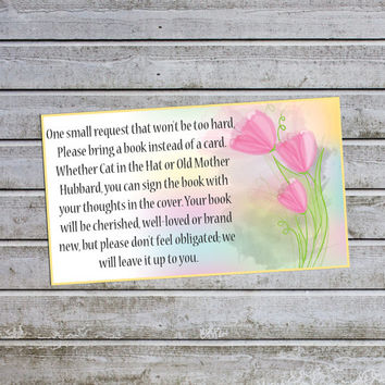 For Baby Shower Invitation Bring a Book Instead of a Card Floral Baby Shower Insert (v15) - Instant Download