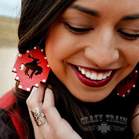 Blingin Bronc Earring - Red