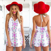 Backless Halter Neck Floral Print Romper