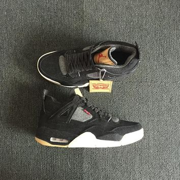 Levi's x Air Jordan 4 Black Jean Men Basketball Shoes Sneaker