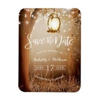 Chic Rustic Country String Lights Save the Date Magnet