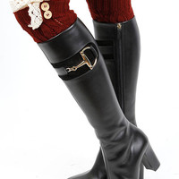 Amy Button Lace Accent Knit Leg Warmers in Burgundy Red
