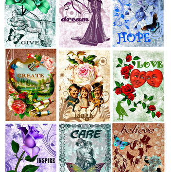 words to inspire clip art digital images collage sheet aceo size roses flowers people graphics printable art tags, cards jewelry holders