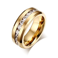 Time Pawnshop Stainless Steel Cubic Zirconia Gold Plated Men Ring Size 10 US