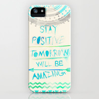 stay positive iPhone Case by Sara Eshak | Society6