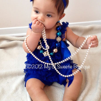 Royal Blue Vintage Lace Petti Romper - Newborn - Baby Girl - Toddler- Photo Prop