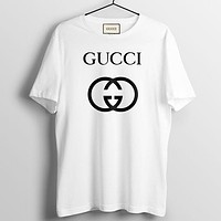 GUCCI Summer Fashion New Bust Letter Print Women Men Top T-Shirt White