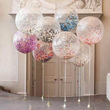5PCS/pack Multicolor Confetti Balloons Perfect Wedding Birthday Party Baby Shower Valentine's Day Decoration Festival Event Supp