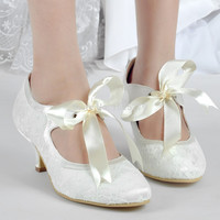 A3039-2 Ivory Women Formal Vintage Bridal Party Mary-jane Pumps Ribbons Med Chunky Heels Satin Lace Wedding Shoes EU35-42
