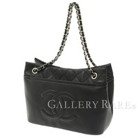 CHANEL Chain Shoulder Bag Soft Caviar Leather Black A48374 Authentic 4470588