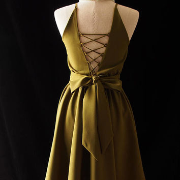 Olive Green Prom Dress Sexy Backless Evening Dress Low Back Bridesmaid Dress Cross Rope Vintage Inspired Party Dress color no.207