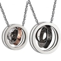 His and Hers Matching Necklace Pendant Set Eternal Love Interlocking Circles Stainless Steel