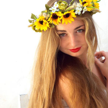 Sunflowers flower crown, Yellow headband, Wedding bridal headpiece, Woodland statement, lana del rey, spring racing, festival hair wreath