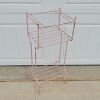 Vintage Wire Mid Century Pink Telephone Plant Stand Table Shelf