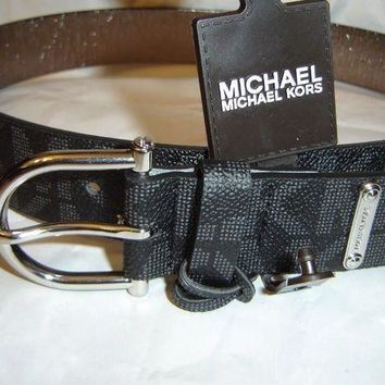 DCCK8TS Michael Kors MK Black Belt with Silver Hardware ~ XL NWT
