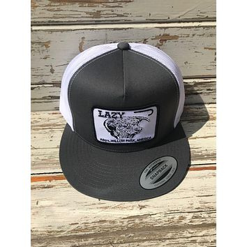 """Lazy J Ranch Wear Gray and White Headquarters Patch Cap (4"""")"""