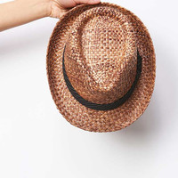 Pin Stripe Wicker Fedora