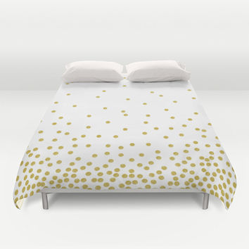 Gold polka dot Duvet Cover by cafelab