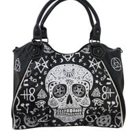 Banned Gothic Rockabilly Skull Pentagram Shoulder Bag - Purse