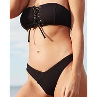 minkpink swim - kylie ribbed bikini separates - black