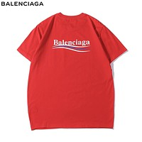 Balenciaga Fashionable Women Men Casual Print T-Shirt Top Red