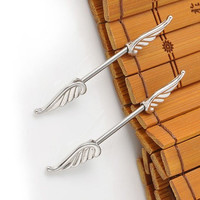 Feather Silver Nipple Bar Jewelry Barbell,Angle Wings Nipple Rings,Feather piercing jewelry