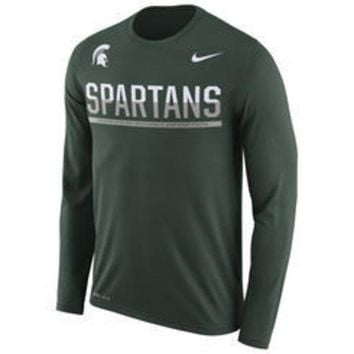 DCCKG8Q NCAA Nike Michigan State Spartans Men's Green 2016 Staff Sideline Legend Dri-FIT Long Sleeve T-Shirt
