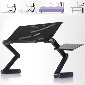 Adjustable Foldable Stand Portable Laptop Notebook Desk Table Bed Tray Dual Fans l