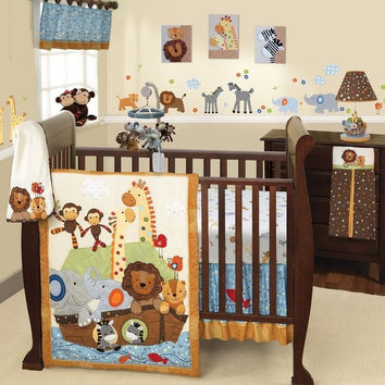 Lambs & Ivy S.S Noah 7 Piece Baby Nursery Crib Bedding Set w Bumper & Mobile NEW