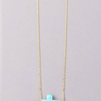 Vintage Snoot Cross Necklace in Gold/Turquoise