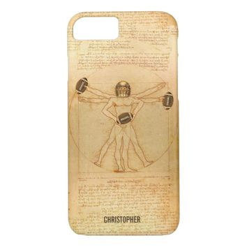 Leonardo Vitruvian Man As American Football Player iPhone 7 Case