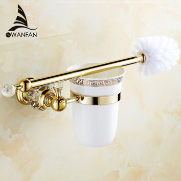 European style Brass Crystal Toilet Brush Holder Gold Plated Toilet brush Bathroom Products Bathroom Accessories useful HK-44