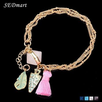 SEDmart Vintage Bronze Feather Arrowhead Charm  Stone Bracelet White   Tassel Chains Bangle Bracelet