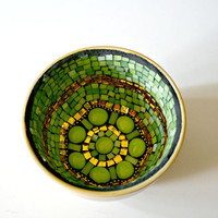 Etsy Mosaic Green Apple Bowl - Green and Gold Stained Glass and Mirror, Yellow Bowl, Decorative Bowl, Handmade Mosaic Bowl