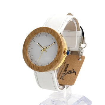 BOBO BIRD J27 New Arrival Top Brand Design Wood Watches for Womens Leather Band Ladies Gold Wrist Watch