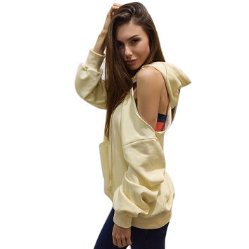 Women Strapless Sweatershirts Casual Hooded Loose Hoodie Tops Tee Shirt femme camiseta mujer INY66
