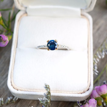 Two Tone Blue Montana Sapphire Dunne Ring