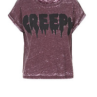Burgundy Creepy Burnout T-Shirt