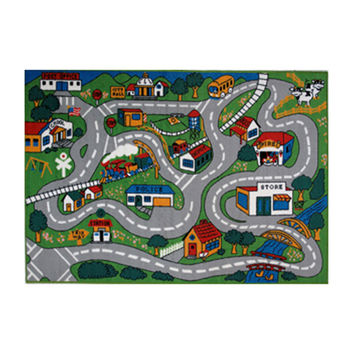 Fun Rugs Fun Time Collection Home Kids Room Decorative Floor Area Rug Country Fun -51X78